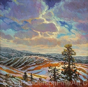 ridge top view inspirational original oil painting of trees and alpine view in mountains by Steve Henderson