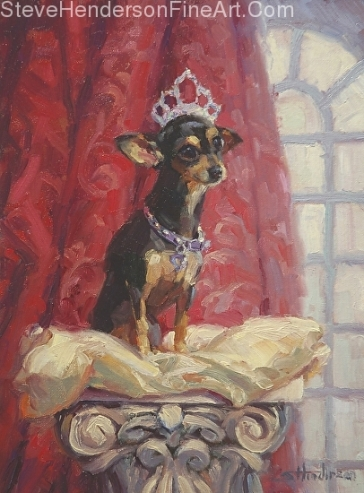 Ruby inspirational original oil painting of chihuahua dog dressed as a queen on a pillow by Steve Henderson