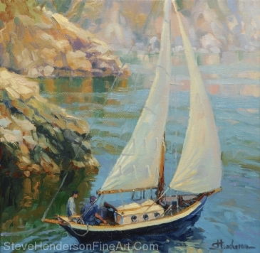 Saturday inspirational original oil painting of sailboat on sound by Steve Henderson