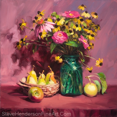 September inspirational original oil painting still life flower floral by Steve Henderson