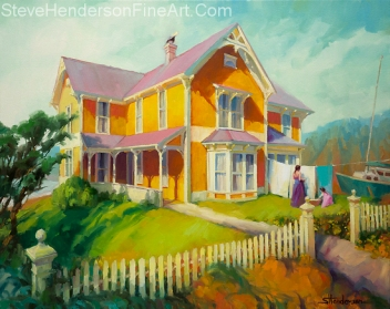 Sophie and Rose inspirational original oil painting of woman and little girl hanging up clothes outside Victorian home at ocean beach by Steve Henderson, licensed prints at amazon.com, art.com, allposters.com, great big canvas, iCanvasART, and Framed Canvas Art