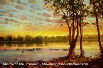 sunrise columbia dawn daybreak river geese landscape steve henderson art