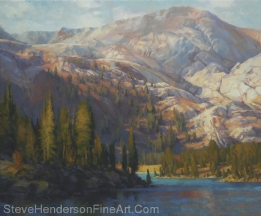 The Divide inspirational original oil painting of mountain and alpine lake by Steve Henderson