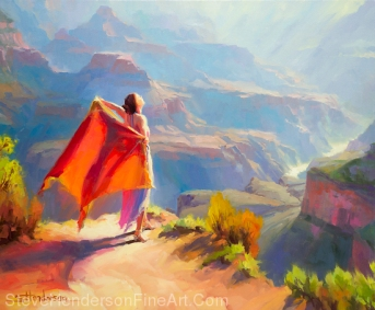 Eyrie inspirational original oil painting of grand canyon sprite in sunlight by Steve Henderson; licensed prints at AllPosters.com, amazon.com, art.com, Great Big Canvas, iCanvasART, Framed Canvas Art, and Vision Art Galleries