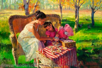Afternoon Tea inspirational original oil painting of mother and child at tea party in meadow by Steve Henderson; licensed prints at Great Big Canvas, iCanvas, Framed Canvas Art, amazon.com, art.com, and allposters