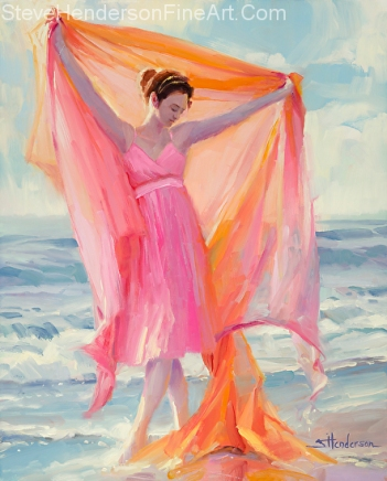 Grace inspirational original oil painting of dancing woman in pink dress on ocean beach by Steve Henderson; licensed prints at Framed Canvas Art and Amazon.com