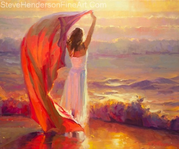 Ocean Breeze inspirational original oil painting of woman at beach during sunset by Steve Henderson, licensed prints at icanvas, framed canvas art, great big canvas, amazon.com, art.com, and allposters.com