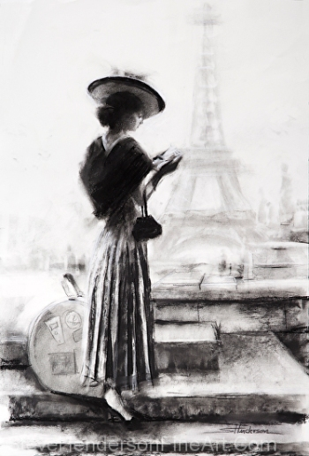 The Traveler inspirational charcoal drawing of vintage nostalgia woman in paris france by the Eiffel Tower by Steve Henderson