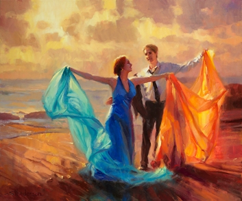 Evening Waltz inspirational original oil painting of young couple dancing on ocean beach by Steve Henderson licensed prints at Framed Canvas Art and amazon.com