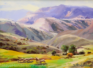 Grazing in the Salmon River Mountains inspirational original oil painting of deer eating grass in meadow by Steve Henderson