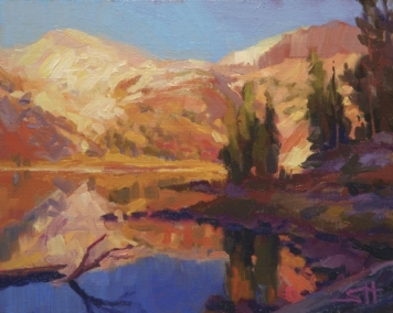 Mountain Lake inspirational original oil painting of alpine wilderness by Steve Henderson
