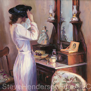 The New Hat inspirational original oil painting of 1940s nostalgic woman in Victorian home by Steve Henderson