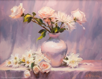 White on White inspirational original oil painting of flowers in a vase in neutral setting by Steve Henderson