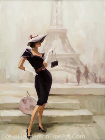 Love from Paris inspirational original oil painting of vogue 1940s 1950s nostalgia woman by Eiffel Tower in France by Steve Henderson