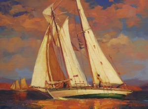 Al Fresco inspirational original oil painting of sailboat on ocean sea by steve henderson