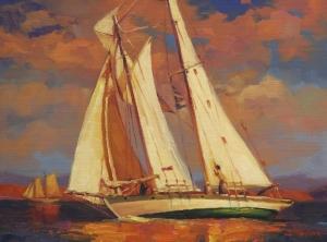 Al Fresco inspirational original oil painting of sailboat on ocean sea by steve henderson