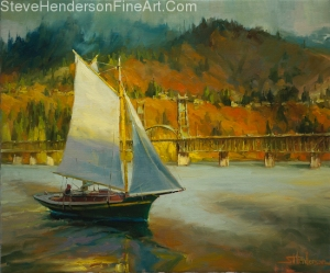 Autumn Sail inspirational original oil painting of sailboat on columbia river gorge between washington and oregon