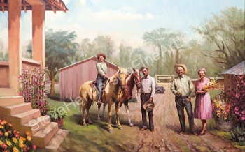 Arizona Memories inspirational original oil painting commissioned of horses and people on a ranch by Steve Henderson