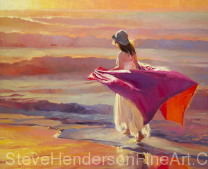 Catching the Breeze inspirational original oil painting of woman walking on ocean beach with flowing fabric by Steve Henderson licensed wall art home decor at allposters.com, art.com, amazon.com, framed canvas art, icanvas , Fulcrum Gallery, Prints.com, Poster Hero, Vintage Wall, and Great Big Canvas
