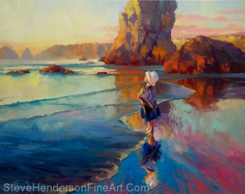 Bold Innocence Inspirational original oil painting of little girl on coastal ocean beach by Steve Henderson licensed wall art home decor at amazon.com, art.com, allposters.com, Great Big Canvas, icanvas, and framed canvas art