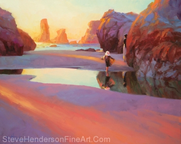 Reflection inspirational original oil painting of little girl on ocean beach jumping in puddle by Steve Henderson licensed wall art home decor at Fulcrum Gallery, Great Big Canvas, iCanvas, AllPosters.com, Posterhero.com, Art.com, Framed Canvas Art, Vintage Wall, Prints.com and Amazon