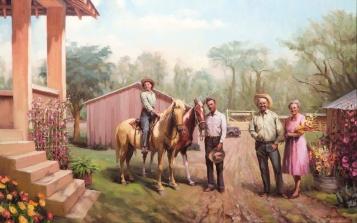 Arizona Memories inspirational original oil painting by Steve Henderson of family homestead in desert