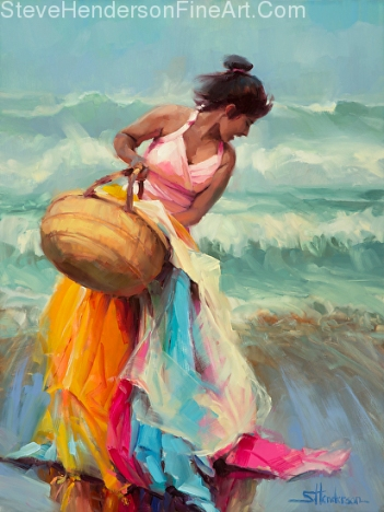 Brimming Over inspirational original oil painting of young laughing woman on ocean beach by Steve Henderson licensed wall art home decor at allposters.com, amazon.com, art.com, Framed Canvas Art and Great Big Canvas