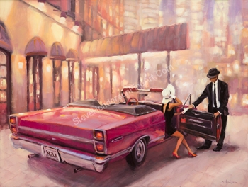 Into You inspirational original oil painting of woman and man on date with red car in front of hotel by Steve Henderson