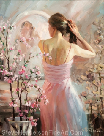 The Evening Ahead inspirational original oil painting of lovely young woman preparing for a date by Steve Henderson