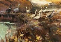 Duck detail from Autumn Dreams, inspirational original oil painting by Steve Henderson