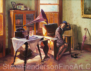 Ending the Day on a Good Note inspirational original oil painting of nostalgic WWII woman in Victorian house with Victrola by Steve Henderson licensed wall art home decor prints at Vintage Wall, Prints.com, Fulcrum Gallery, and Posterhero.com