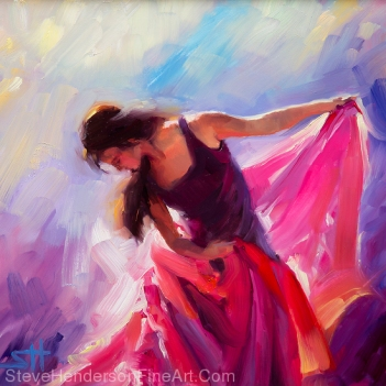 Magenta inspirational original oil painting of dancer by Steve Henderson