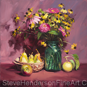 September inspirational original oil painting of flowers and fruit still life by Steve Henderson licensed wall art home decor at PosterHero.com, Prints.com, Fulcrum Gallery, and Vintage Wall