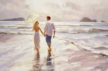 Hand in Hand inspirational original oil painting of couple walking on coastal ocean beach by Steve Henderson