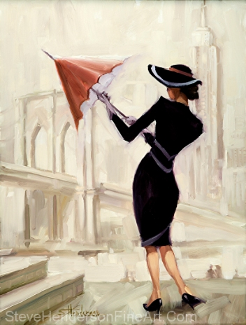 Hello New York inspirational original oil painting of fashionable vogue woman with red umbrella by Steve Henderson licensed wall art home decor at allposters.com and art.com