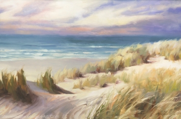 Sea Breeze inspirational original oil painting of coastal beach scene by ocean with meadow grass and sunset