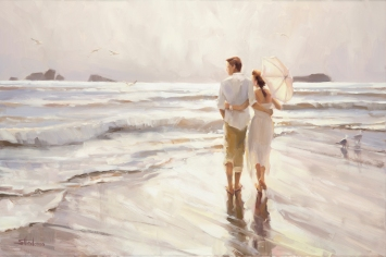 The Way That It Should Be inspirational original oil painting of couple standing and embracing on coastal ocean beach by Steve Henderson