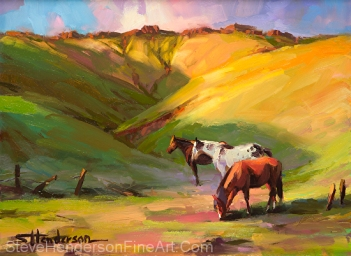 Three Horses inspirational oil painting of mountain meadow by Steve Henderson