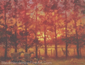 Fenceline Encounter inspirational original oil painting of goat and deer in meadow by Steve Henderson
