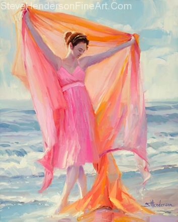 Grace inspirational original oil painting of woman dancing on coastal ocean beach in pink dress by Steve Henderson licensed wall art home decor at posterazzi, framed canvas art, amazon, great big canvas and prints.com