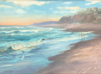 On the Beach inspirational original oil painting of people on ocean coast by Steve Henderson