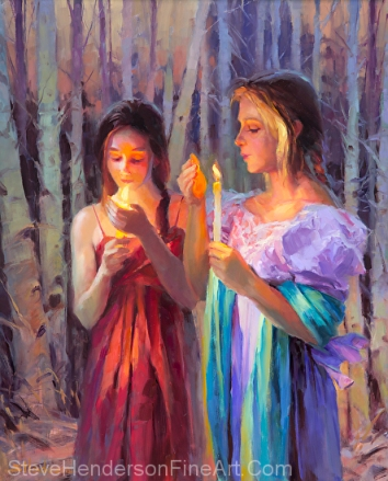 Light in the Forest inspirational original oil painting of two women with candles in the woods by Steve Henderson licensed wall art home decor at amazon.com, iCanvas, and framed canvas art