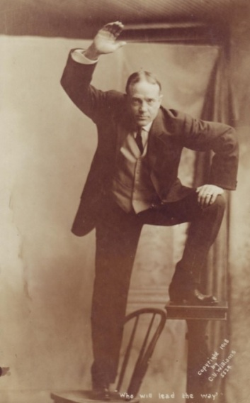 While the contemporary, celebrity preaching fare isn't as graphically hostile as the message of early 20th century evangelist Billy Sunday, the underlying message is remarkably similar. Image of Billy Sunday, circa 1915.