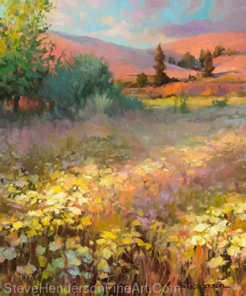 Field of Dreams inspirational original oil painting of flowers and meadow at sunrise by Steve Henderson licensed wall art home decor at prints.com, framed canvas art, vintage art, poster hero and fulcrum gallery