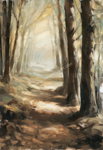 Forest Path inspirational original oil painting of trees and woods by Steve Henderson