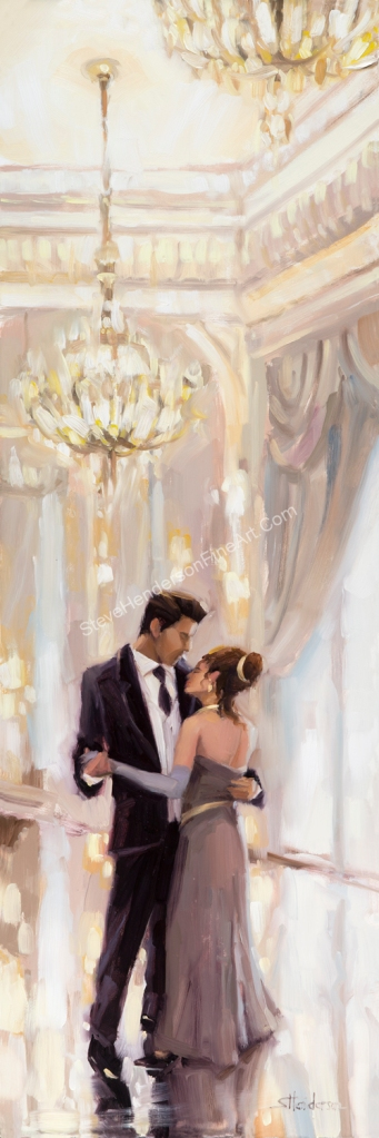 Just the Two of Us inspirational original oil painting of romantic couple dancing in ballroom by Steve Henderson