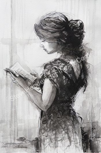 Light Reading inspirational original watercolor painting of woman reading book