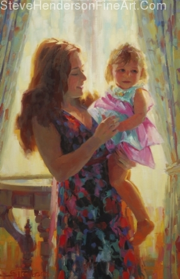 Madonna and Toddler inspirational original oil painting of mother and child by Steve Henderson, licensed wall art home decor at icanvas, framed canvas art, amazon, and framedart.com