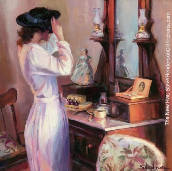new hat woman mirror nostalgic vintage steve henderson art