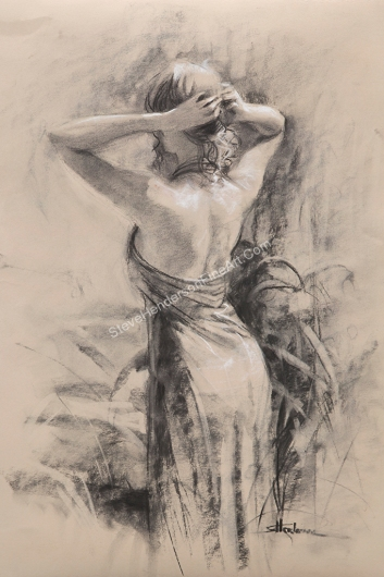 Preening, inspirational original charcoal of young woman with beautiful back pulling up her hair by Steve Henderson